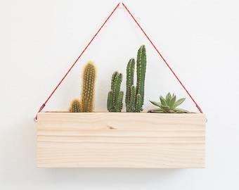 Wood indoor hanging planter - Modern wall hanging plant box - wood box planter - Hanging plant pot - Vertical garden wooden planter