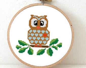 OWL pattern. Owl Cross Stitch pattern nature decor. Wise owl decor. Autumn Owl Party decoration