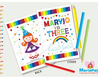 6 Rainbow Coloring Book, Rainbow Party Theme Personalized Coloring Books, Party Favors  A1187