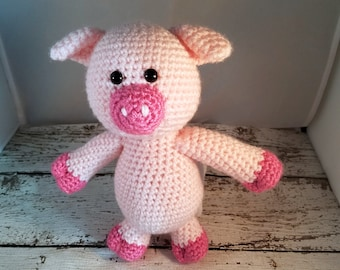 Crochet Pig Stuffed Animal - Pig Plush - Farm Animals - Pig Amigurumi - Pig Decor - Newborn Photo Prop - Pig Gifts - Farm Nursery - Baby Pig