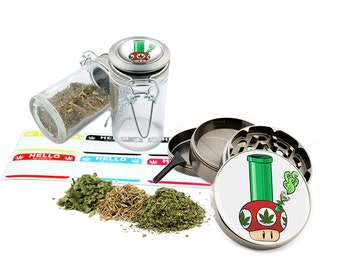 "Mushroom-Bong - 2.5"" Zinc Alloy Grinder & 75ml Locking Top Glass Jar Combo Gift Set Item # G50120915-2"