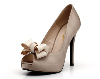 Champagne Peep Toe Pump with Multi Layer Bow, Champagne Satin Evening Heels With Front Bow.