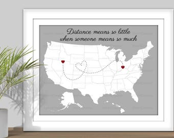 State Art, Distance Means So Little When Someone Means So Much - Hearts over City. PRINTABLE. Digital State Art. USA map