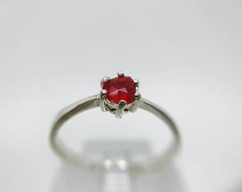 Natural Mexican Fire Opal Ring on Sterling Silver