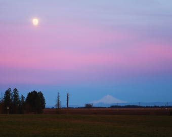 The Super Moon and Mt Hood came into the same photo with lovely pastel colors. A bit of mystery is here in the shroud of high clouds.