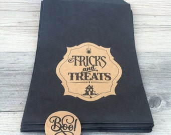 """Halloween Favor Bags with BOO sticker seals - 6""""x9"""" Vintage style Kraft & Black - Tricks and Treats bags - Candy/Thank You Bags - Set of 12"""