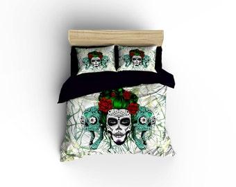 Calavera Girl duvet covers,Skull decor,Calavera bedding, bedroom decor,Dia De los Muertos,rockabilly Bedding,skulls and Roses bedding,skulls