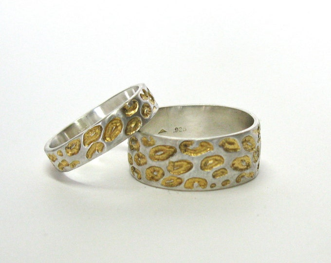 His and Hers Leopard Print Wedding Rings With Gold Detail
