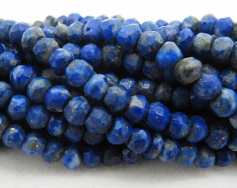 SALE Natural Lapis Lazuli Beads, Lapis Lazuli Rondelle Faceted , 3 to 4mm, Natural Lapis Beads, Gemstones Israel Cut Beads, sold per STRAND