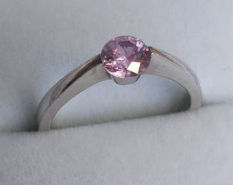 Pretty Pink Solitaire CZ Vintage Ring SALE!!  - Sterling Silver, U.S. Size 6.25. Cubic Zirconia, Dress or Cocktail Ring, Giftboxed