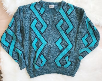 Vintage Oversized Knit Sweater / 80s Neon Pull Over Sweater Size Large