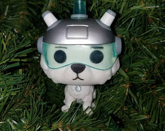 rick and morty christmas ornament snowball flocked