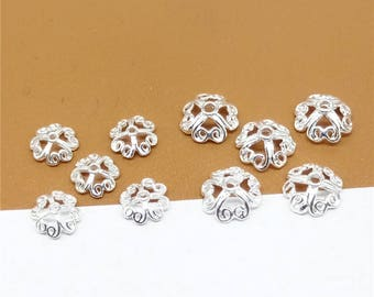 40 Sterling Silver Bead Caps, 925 Stering Silver Flower Bead Caps, Polished Sterling Silver Bead Caps, Spacer Beads Caps, 6mm 8mm - TF57