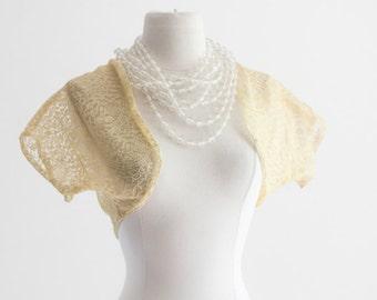 40's Lace Shrug - Yellow Lemon Drop Yellow. Shawl, Cropped Jacket, Dress Accessory, Pretty Bridal top