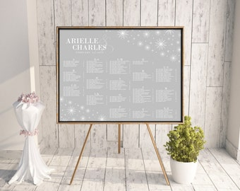 Snowflake Seating Chart, Wedding Seating Chart, DIY Seating Chart, Printable Seating Chart, Seating Chart PDF, Winter Wedding, Gray, Flakes