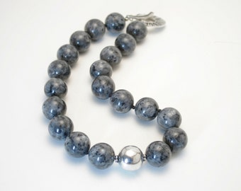 Black labradorite and sterling silver knotted necklace