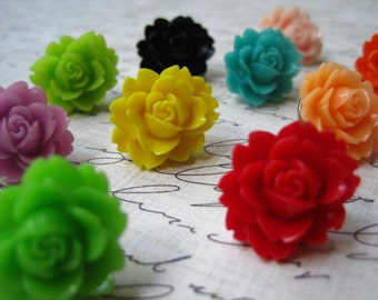 Decorative Pushpins, 12 pc Flower Thumbtacks, Pretty Bulletin Board Thumbtacks, Cute Office Supply, Hostess Gifts, Wedding Favors