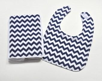 Baby Bib Burp Cloth, Baby Shower Gift, Baby Accessories, Baby Items, Bib Set, Burpcloth, Navy Chevron Baby Gift Idea
