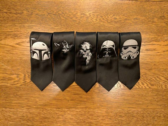 Star Wars Custom Tie (stormtroopers, star wars, the dark side, the force, yoda, darth vader, may the 4th, necktie, boba fett, chewbacca)