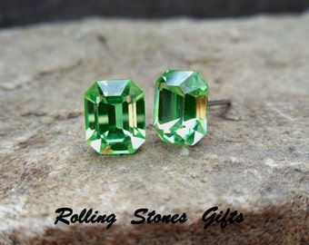 Peridot 8x6.5mm Swarovski Octagon Rhinestone Stud Earrings-Peridot Crystal Studs-August Birthstone Crystal Studs-Green Post Earrings