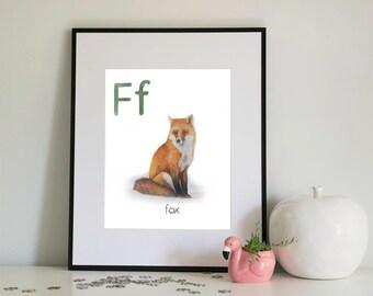 F is for Fox, alphabet series - Print of Original Watercolour