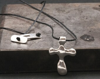 Cross Pendant Necklace, Minimal Black Thread Long Necklace Silver Cross Pendant, Religious Christian Cross for Men/Women, Cross Jewelry