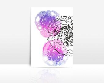 Handmade Screen Printed postcard of Brains