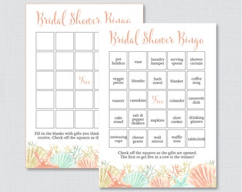 Nautical Bridal Shower Bingo Printable - 60 Unique Pre-filled Bingo Cards AND Blank Cards - Blue and Coral Beach Themed Bridal Shower 0012-C
