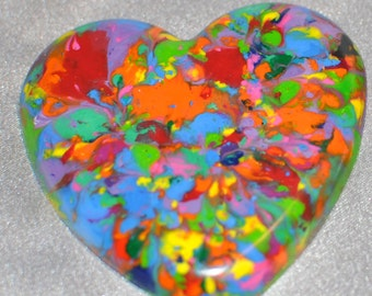 Multi Colored Hearts Recycled Crayons, Total of 12.  Boy or Girl Kids Unique Party Favors, Crayons.