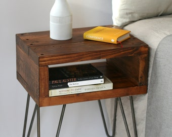 Sashi Bedside Table | Teak finish handmade side table made with reclaimed wood. Mid-century style hairpin legs. Can be custom made