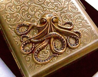 Big Brass Octopus Cigarette Case Gothic Victorian Steampunk Rustic Antiqued Gold Brass Tone Metal Vintage Inspired Smoking Accessories