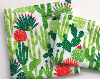 Cactus Snack bag, Reusable sandwich bag, Zero Waste Lunch, School lunch, Work lunch, sustainable, spring gift, gift for her under 10