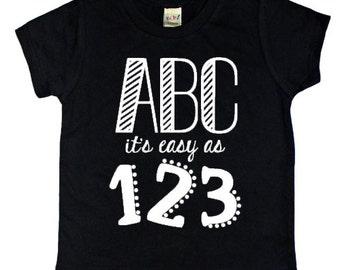 ABC it's easy as 123 // Back to School // School // School Shirt // Kids Tee // Toddler Tee  // Kids t-shirt