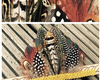 Handmade Headdress, Headpiece,  Feather Headband, Ibiza, Burning man, Festival Accessories, Tribal, Native American, Boho,