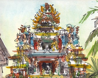 Sketch from India, travel art,  Indian temple gate, 8x10 fine art print form an original watercolor sketch