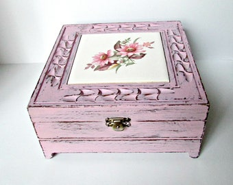 Pink Floral Tile Painted Up-cycled Jewelry Storage Trinket Box
