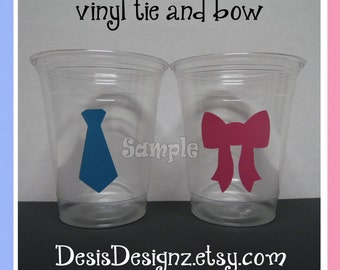 24 Gender reveal Ties and Bows vinyl decals 12 oz. 16 oz or 20 oz. clear party cups Baby shower decorations girl boy sprinkle party