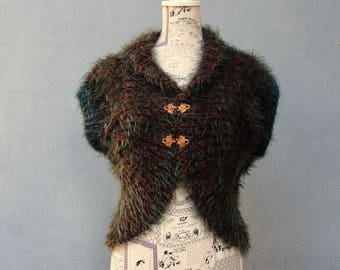 Soft Knitted Bolero, Knitted Capelet with Vintage Copper Hooks, Luxurious Accessory