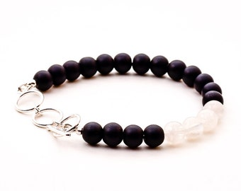Onyx and Moonstone Sterling Silver Bracelet