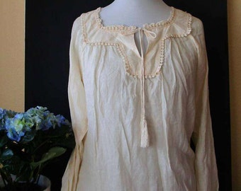 Bohemian Ladies Top Off white Boho Blouse Tunic  Festival Tunic Lace trim 70s style Cotton Size UK 10/US 8 Medium. Gift for her.