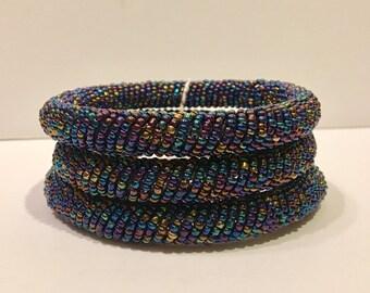 Beaded Bangles (set of 3) Blue Metallic Colorways