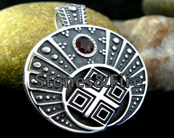 Lunitsa and Makosh. _Women's Pendant with Pagan Symbols. _Handcrafted Sterling Silver 925.
