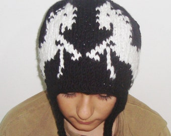 White Horses Hand Knitted Hat With Ear Flaps Men Hat, White Horse Hat, Winter, Hand Knit Hat, White Black