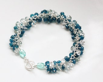 Peacock Blue Apatite Bracelet with Moss Aquamarine and White Topaz in Sterling Silver, March November Birthstone Birthday, Gemstone Cluster