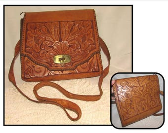 Vintage Tooled Brown Leather Handbag Purse with Brass Latch