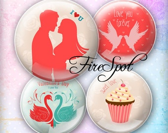 Valentine's Day love marry - Digital Collage Sheet 1.5 inch 1.25 inch 30 mm 1 inch 25 mm circle Pendants,Scrapbooking Instant Download
