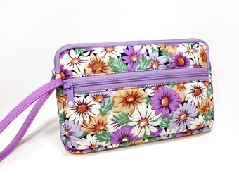 Daisy zipper pouch, Wristlet wallet, Cosmetic bag, Cell phone bag, iPhone wallet case, Floral wristlet, Purple Bag