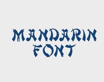 """Mandarin Embroidery Font in Multiple formats, 1/2"""", 1"""", 2"""" & 3"""" (Upper case + numbers) - INSTANT DOWNLOAD - Item #1108"""