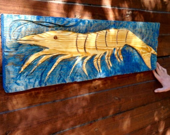 Shrimp Sign 3ft. wooden shrimp carving whimsical wall mount seaside lowcountry beach bungalow decor YOU pick background color chainsaw art