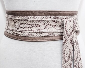 Taupe Snakeskin Leather Obi Belt | Waist Sash Belt | Leather tie belt | Corset Leather Belt| Plus Size Belt